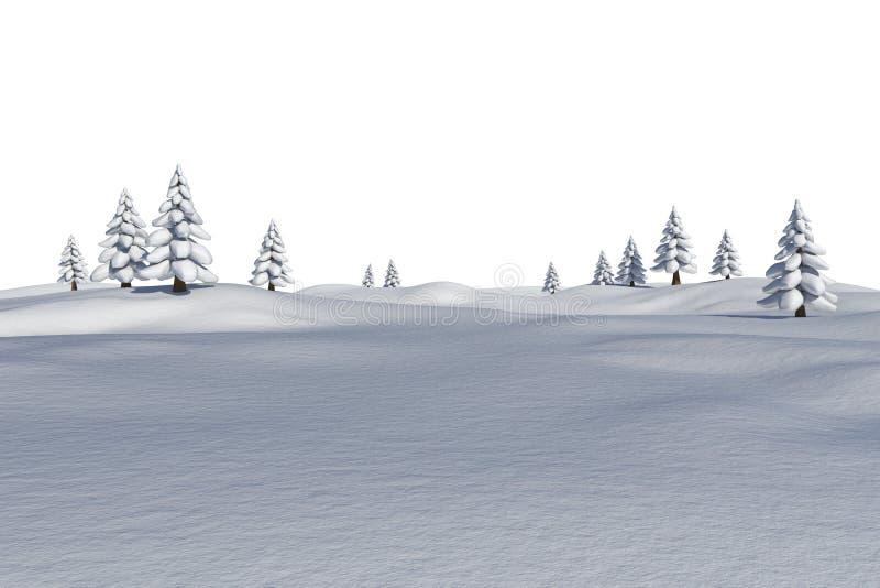 Άσπρο χιονώδες τοπίο με τα δέντρα έλατου διανυσματική απεικόνιση