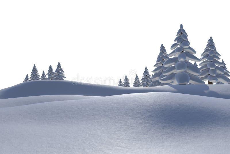 Άσπρο χιονώδες τοπίο με τα δέντρα έλατου απεικόνιση αποθεμάτων