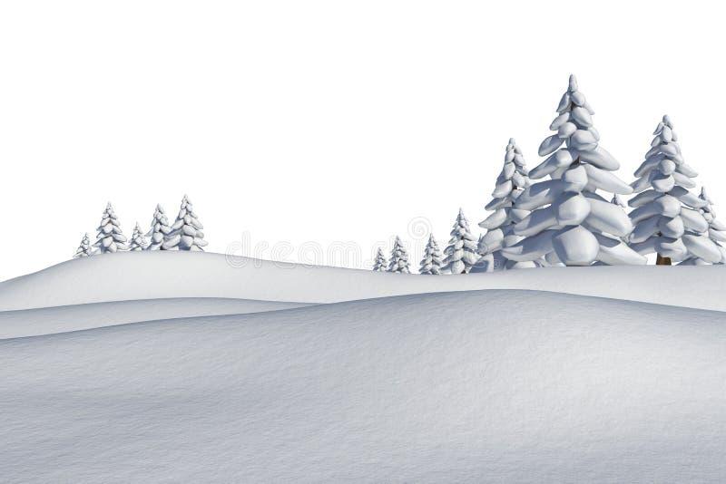 Άσπρο χιονώδες τοπίο με τα δέντρα έλατου ελεύθερη απεικόνιση δικαιώματος