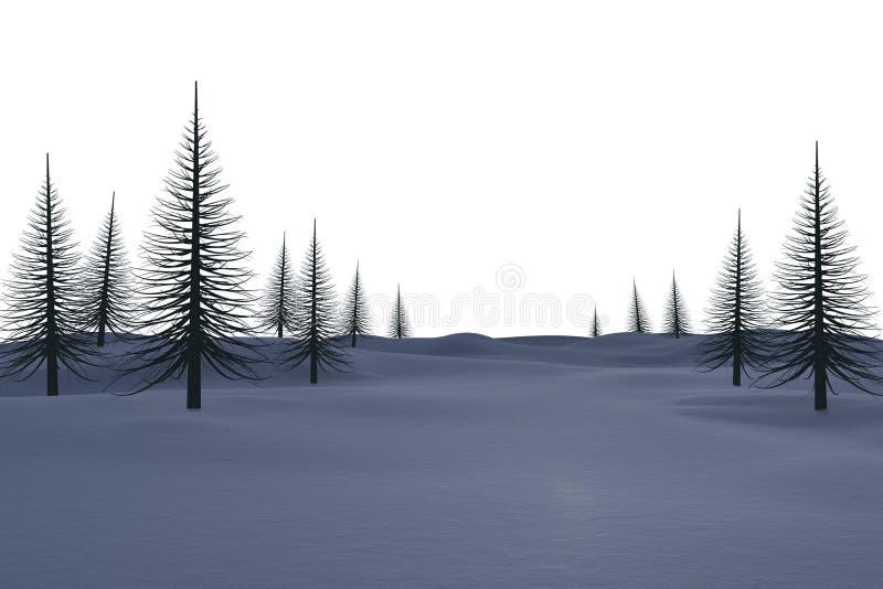 Άσπρο χιονώδες τοπίο με τα νεκρά δέντρα απεικόνιση αποθεμάτων