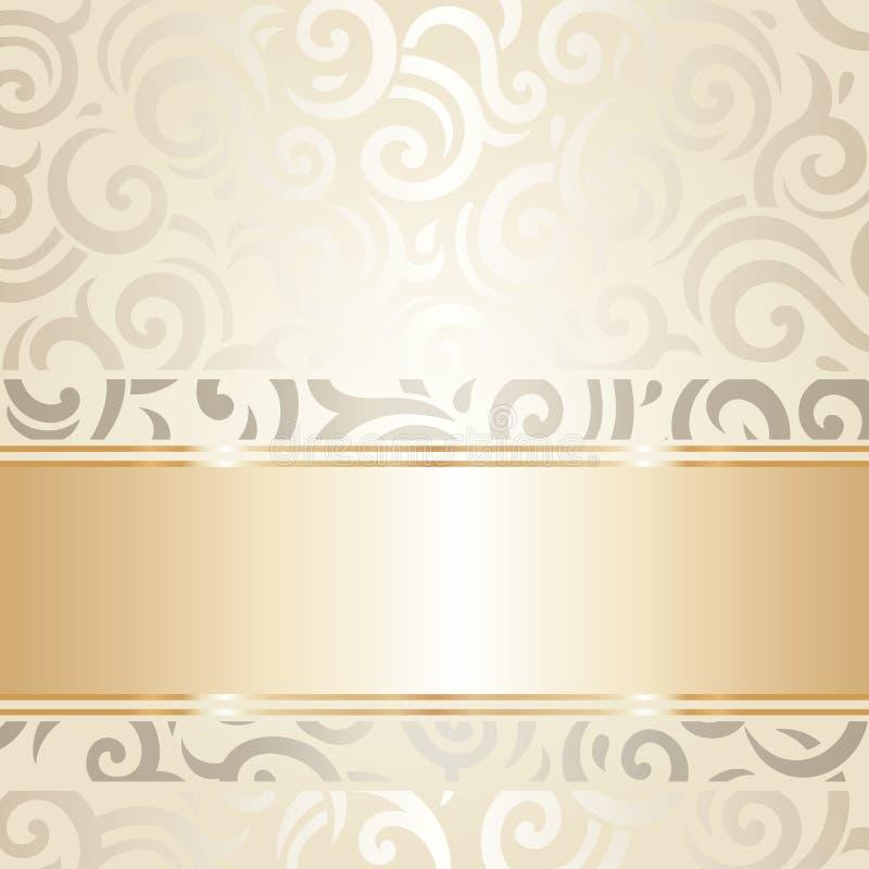 Άσπρο & χρυσό διάνυσμα σχεδίου γαμήλιων εκλεκτής ποιότητας ταπετσαριών διανυσματική απεικόνιση