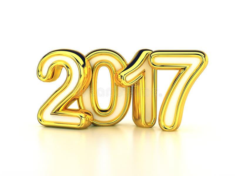 άσπρο χρυσό νέο έτος του 2017 απεικόνιση αποθεμάτων