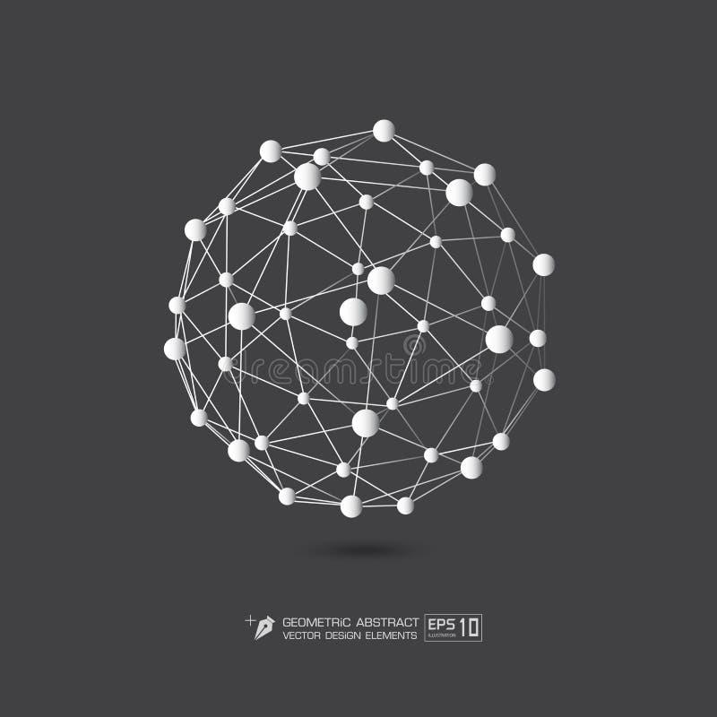 Άσπρο χρώμα δομών μορίων στην γκρίζα απεικόνιση σχήματος υποβάθρου διανυσματική EPS10 απεικόνιση αποθεμάτων