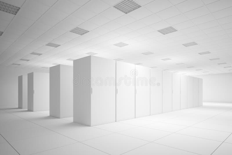 Άσπρο δωμάτιο κεντρικών υπολογιστών ελεύθερη απεικόνιση δικαιώματος