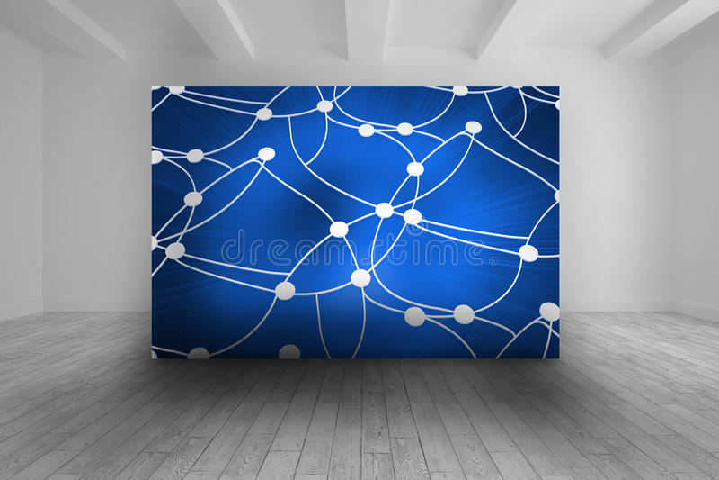 Άσπρο δωμάτιο με την μπλε εικόνα των σημείων και των γραμμών διανυσματική απεικόνιση
