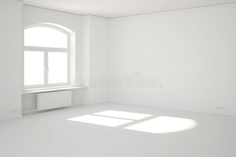 Άσπρο δωμάτιο με το παράθυρο και την ηλιαχτίδα απεικόνιση αποθεμάτων