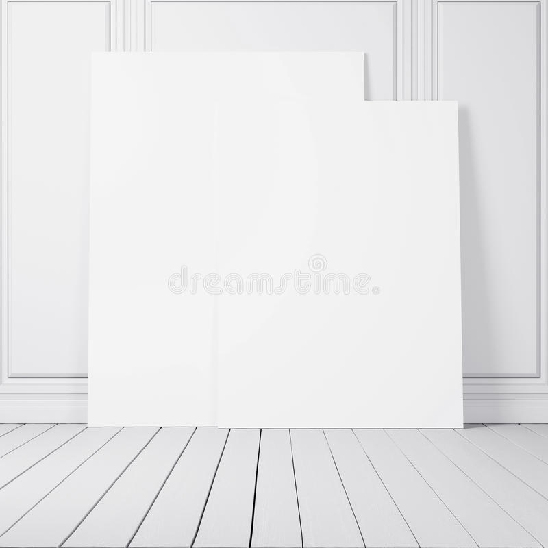 Άσπρο δωμάτιο με δύο κενές αφίσες στοκ εικόνες με δικαίωμα ελεύθερης χρήσης