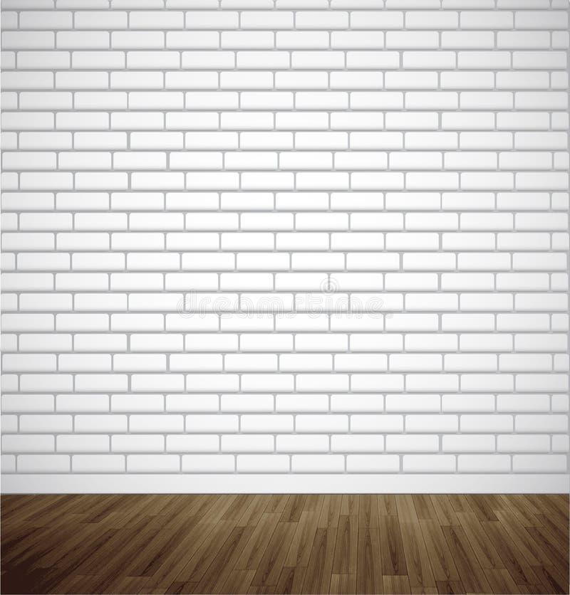 Άσπρο δωμάτιο τούβλου με το ξύλινο πάτωμα η ανασκόπηση ανθίζει το φρέσκο διάνυσμα γάλακτος φύλλων απεικόνισης διανυσματική απεικόνιση