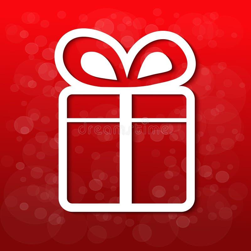 Άσπρο δώρο Χριστουγέννων εγγράφου με το τόξο - κορδέλλα, κόκκινο υπόβαθρο απεικόνιση αποθεμάτων