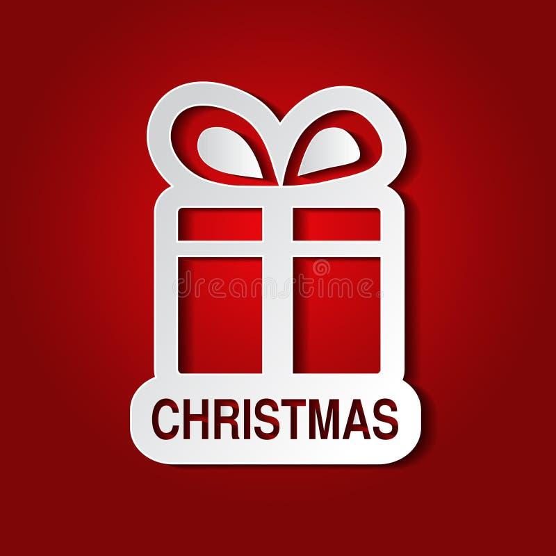 Άσπρο δώρο Χριστουγέννων εγγράφου με το τόξο - κορδέλλα, κόκκινο υπόβαθρο - EPS 10 διανυσματική απεικόνιση