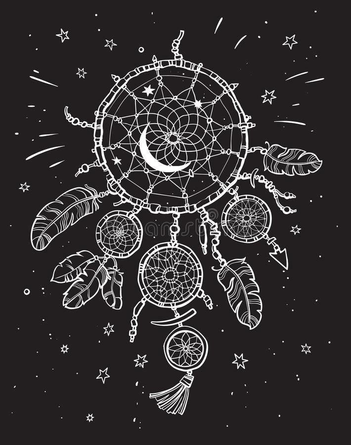 Άσπρο catcher ονείρου στο μαύρο υπόβαθρο νυχτερινού ουρανού διανυσματική απεικόνιση