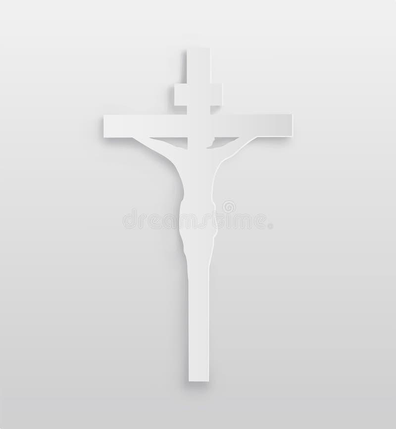 Άσπρο crucifix διάνυσμα διανυσματική απεικόνιση