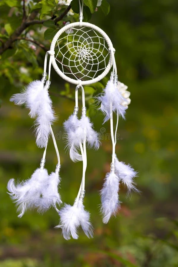 Άσπρο Dreamcatcher στα πλαίσια ενός πράσινου κήπου στοκ φωτογραφίες