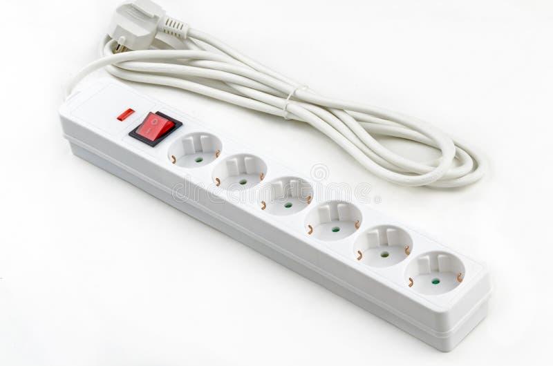 Άσπρο Electroextension έξι υποδοχές στοκ εικόνες