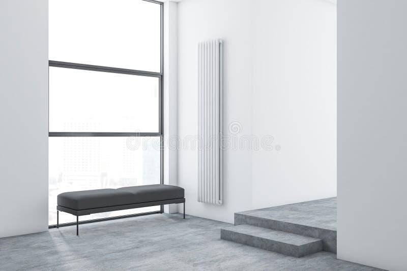 Άσπρο minimalistic εσωτερικό καθιστικών με τον πάγκο διανυσματική απεικόνιση