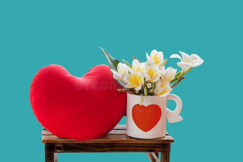 Άσπρο plumeria ή frangipani λουλουδιών στο καλό whi σχεδίων καρδιών στοκ εικόνα