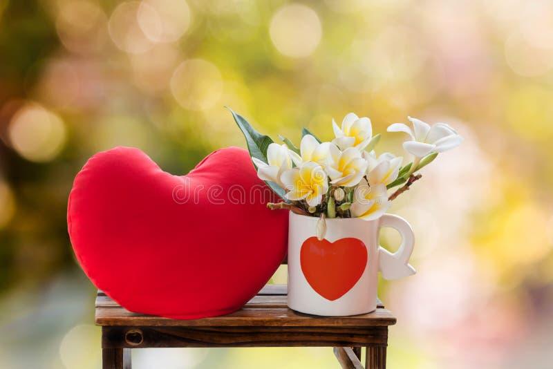 Άσπρο plumeria ή frangipani λουλουδιών στο καλό whi σχεδίων καρδιών στοκ εικόνες με δικαίωμα ελεύθερης χρήσης