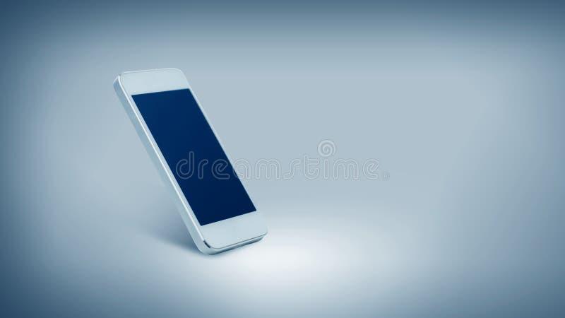 Άσπρο smarthphone με τη μαύρη κενή οθόνη στοκ φωτογραφίες