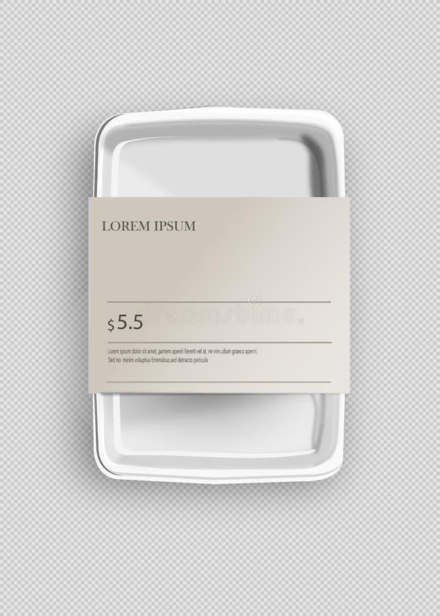 Άσπρο Styrofoam προτύπων κενό κενό πλαστικό εμπορευματοκιβώτιο δίσκων τροφίμων με την ετικέτα Απεικόνιση που απομονώνεται στο γκρ διανυσματική απεικόνιση