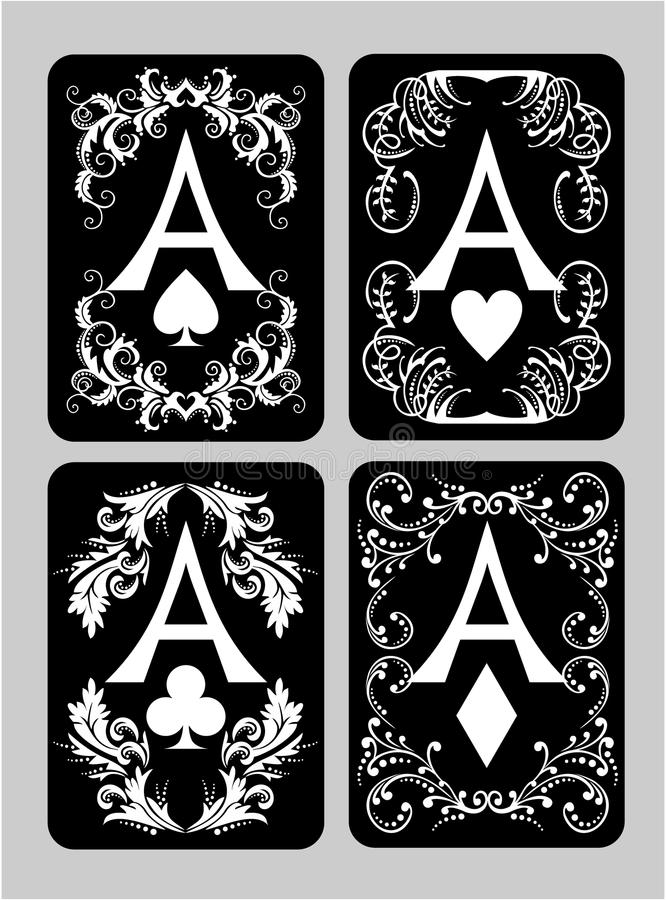 Άσσοι καρτών πόκερ καθορισμένοι στοκ εικόνα