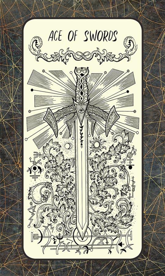 Άσσος των ξιφών Η μαγική κάρτα πυλών tarot απεικόνιση αποθεμάτων