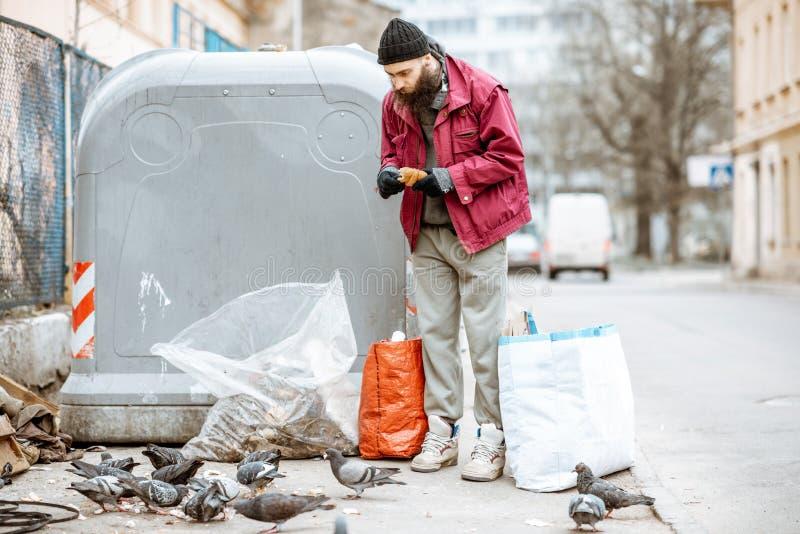 Άστεγα ταΐζοντας περιστέρια επαιτών κοντά στα απορρίμματα στοκ φωτογραφίες
