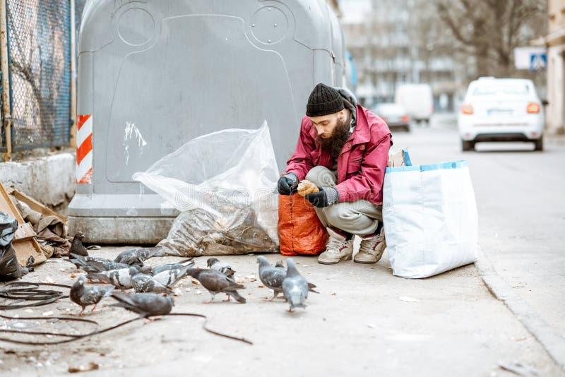 Άστεγα ταΐζοντας περιστέρια επαιτών κοντά στα απορρίμματα στοκ φωτογραφία