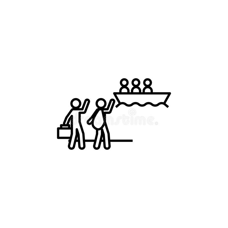 άσυλο, διαφυγή, εικονίδιο μετανάστευσης Στοιχείο του κοινωνικών προβλήματος και του εικονιδίου προσφύγων Λεπτό εικονίδιο γραμμών  διανυσματική απεικόνιση
