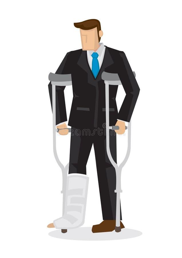 Άσχημα τραυματισμένος επιχειρησιακός χαρακτήρας κινούμενων σχεδίων στο κοστούμι με ένα σπασμένο λ απεικόνιση αποθεμάτων