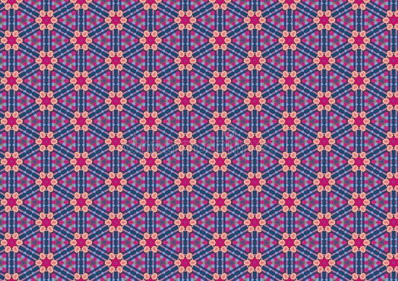Άσχημο μπλε αναδρομικό Floral πρότυπο στοκ φωτογραφία