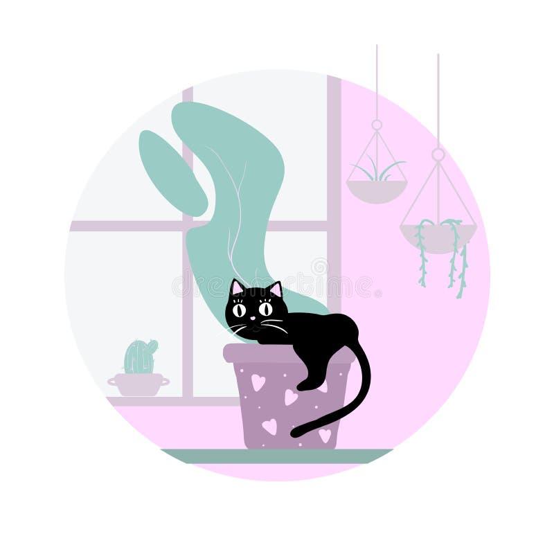Άτακτη γάτα στο σπίτι Η γάτα αναρριχείται σε ένα δοχείο εγκαταστάσεων Απειθής γάτα doodle στο άσπρο υπόβαθρο ελεύθερη απεικόνιση δικαιώματος