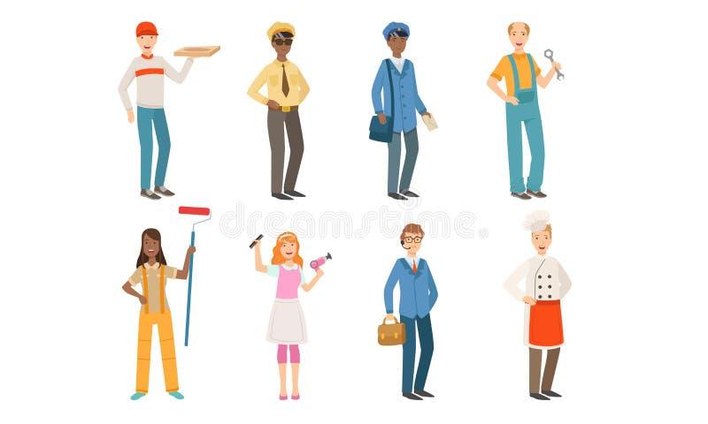 Άτομα διαφορετικών επαγγελμάτων, ταχυδρόμος, οδηγός ταξί, ταχυδρόμος, κλειδαράς, ζωγράφος, κομμωτής, επιχειρηματίας, μάγειρας ελεύθερη απεικόνιση δικαιώματος