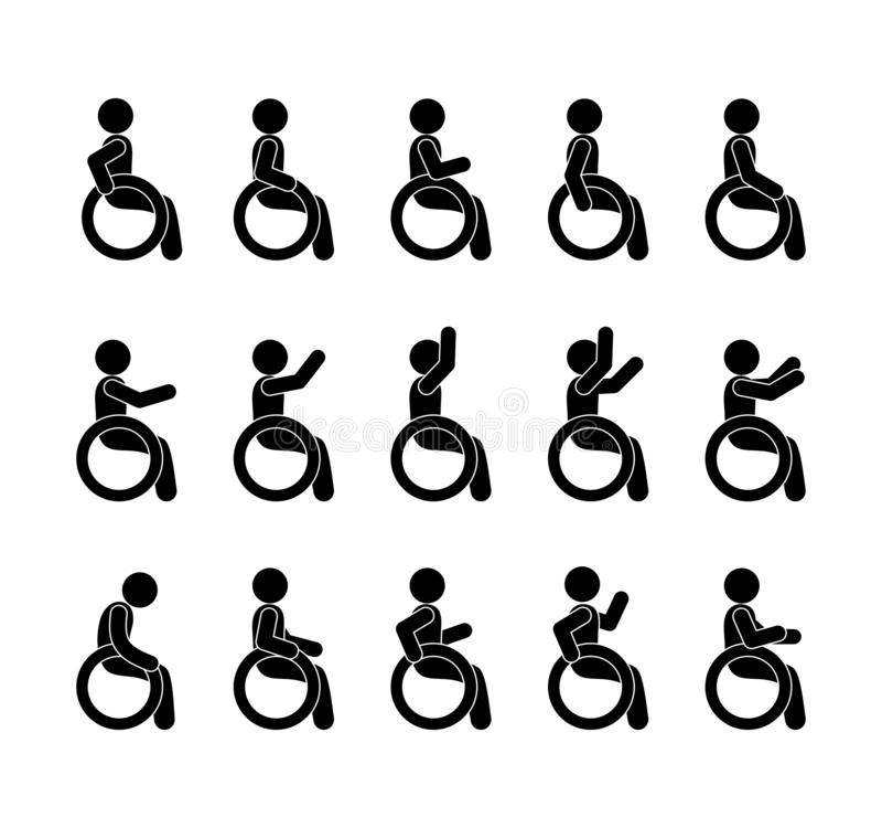 Άτομα με ειδικές ανάγκες και άτομα με ειδικές ανάγκες που τίθενται με τους ανθρώπους στις αναπηρικές καρέκλες διανυσματική απεικόνιση