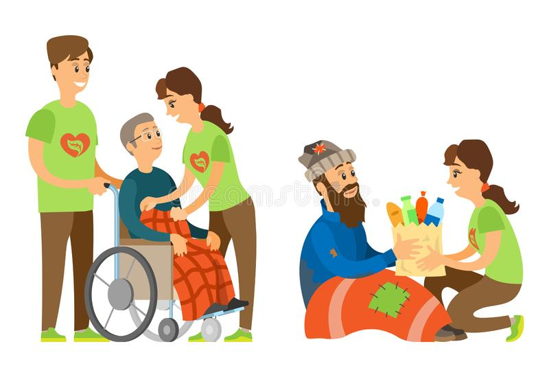 Άτομα με ειδικές ανάγκες και το vagrant, κοινωνικό διάνυσμα φροντίδας απεικόνιση αποθεμάτων