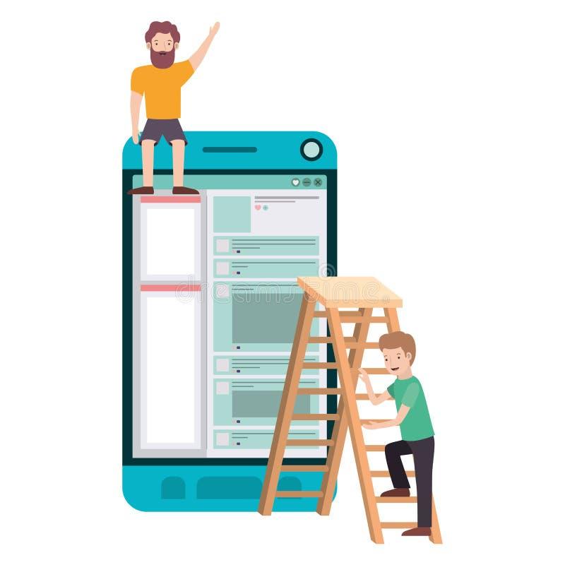 Άτομα με το smartphone και stepladder είδωλο chatacte απεικόνιση αποθεμάτων