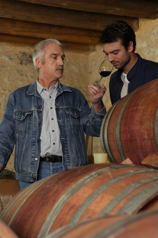 άτομα που δοκιμάζουν το κρασί δύο στοκ φωτογραφία με δικαίωμα ελεύθερης χρήσης