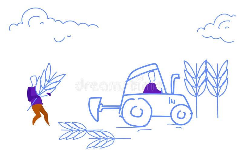 Άτομα που οργώνουν το επιτυχές σκίτσο έννοιας ομαδικής εργασίας συγκομιδών καλλιέργειας τομέων doodle οριζόντιο διανυσματική απεικόνιση