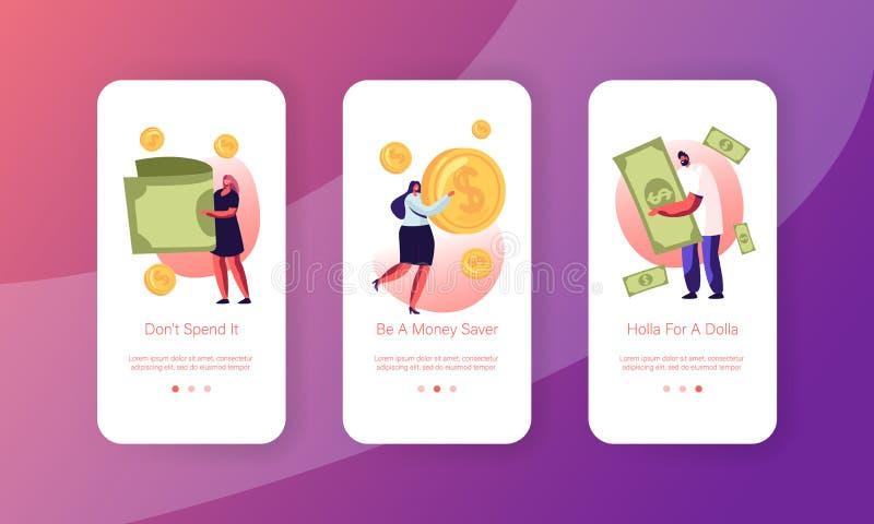 Άτομα που χρησιμοποιούν τη σελίδα εφαρμογής Money Cash Mobile App Set στην εσωτερική οθόνη Μικροσκοπικοί άνδρες και γυναίκες χαρα διανυσματική απεικόνιση