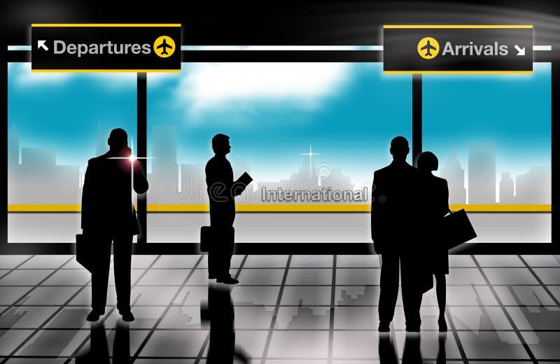 άτομα σαλονιών επιχειρησιακών αναχωρήσεων αφίξεων αερολιμένων διανυσματική απεικόνιση