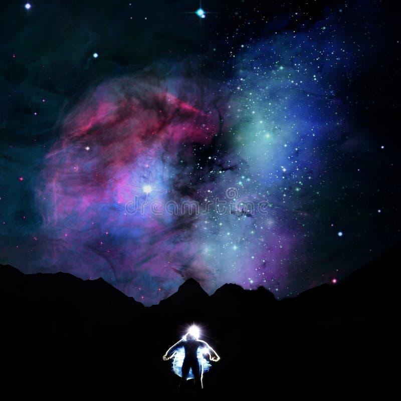 Άτομα στο υπόβαθρο ουρανού αστεριών στοκ εικόνες