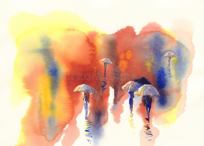 Άτομα στο watercolor βροχής διανυσματική απεικόνιση