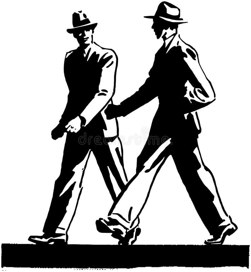άτομα δύο που περπατούν διανυσματική απεικόνιση