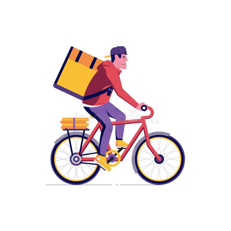 Άτομο αγγελιαφόρων παράδοσης ποδηλάτων διανυσματική απεικόνιση