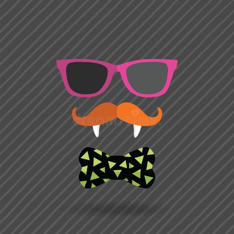 Άτομο αποκριών Hipster με τα γυαλιά, mustache διανυσματική απεικόνιση