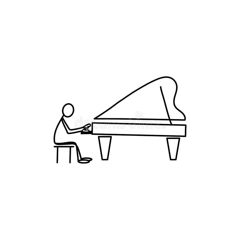 Άτομο αριθμού ραβδιών που παίζει το πιάνο ελεύθερη απεικόνιση δικαιώματος