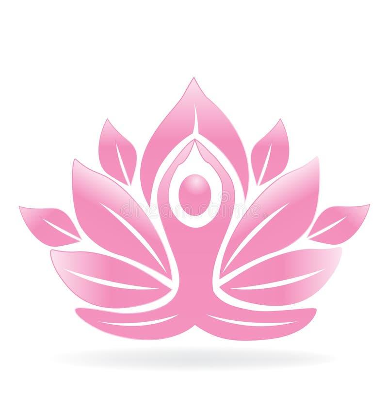 Άτομο γιόγκας λουλουδιών Lotus διανυσματική απεικόνιση