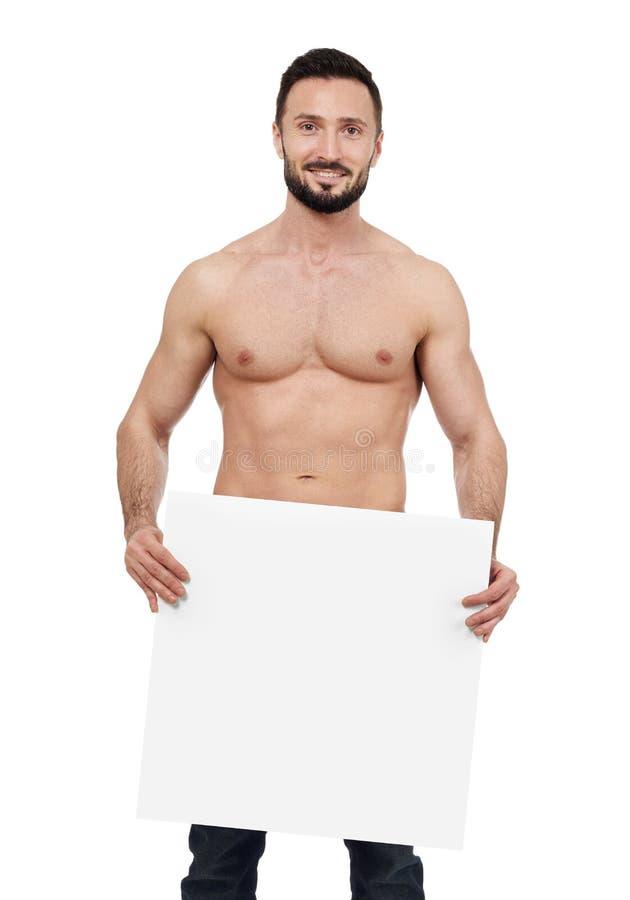 Άτομο γυμνοστήθων με το κενό σημάδι στοκ φωτογραφίες με δικαίωμα ελεύθερης χρήσης