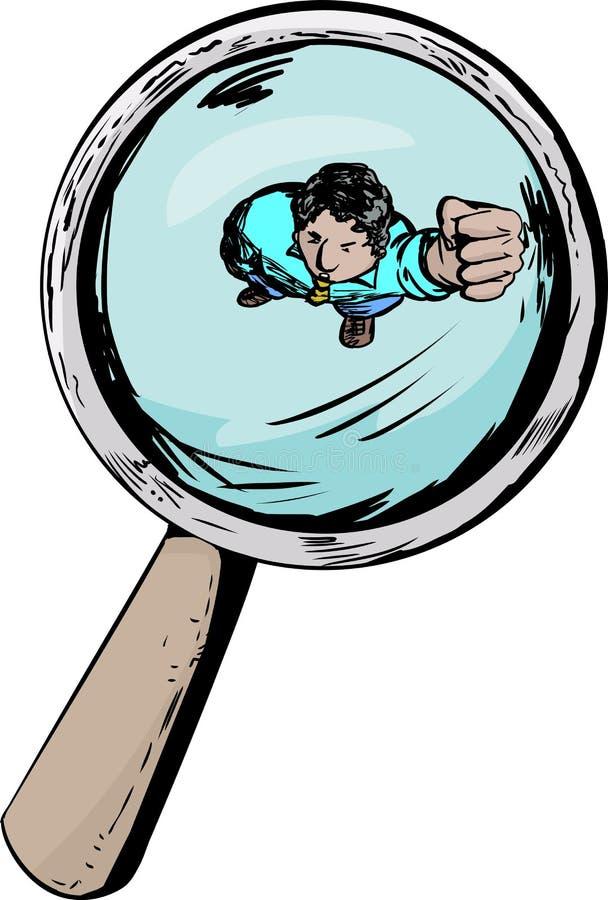 Άτομο κάτω από την ενίσχυση - γυαλί απεικόνιση αποθεμάτων