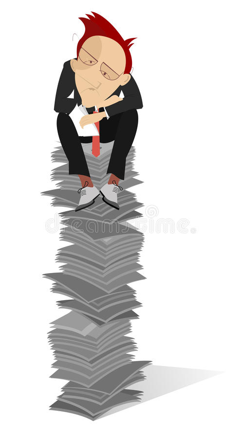 Άτομο και έγγραφα που απομονώνονται απεικόνιση αποθεμάτων