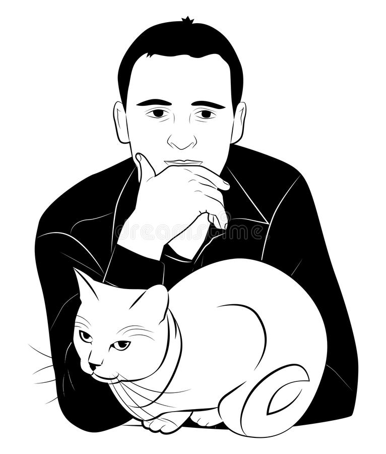 Άτομο και γάτα απεικόνιση αποθεμάτων